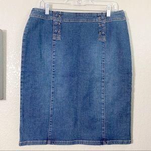 J. Jill Denim Covered Button Sailor Skirt 12